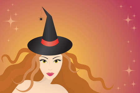Pretty girl with curly hair in a witch hat with a spider. Vector illustration. Stock Vector - 5435301