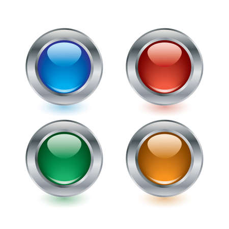 Set of four glossy buttons in different colors. Vector. Stock Vector - 5435307