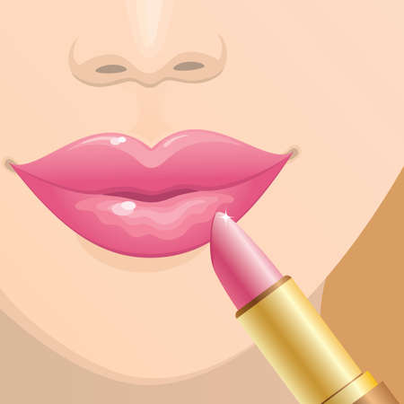 Close-up of female lips with a pink lipstick. Vector.