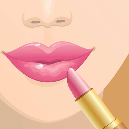 Close-up van vrouwelijke lippen met een roze lippenstift. Vector.
