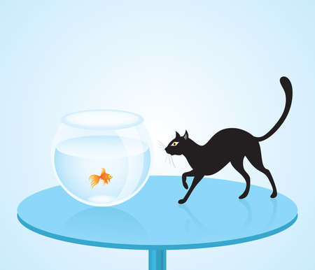 Vector illustration of a black cat hunting a goldfish in aquarium. Vector