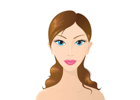 Beautiful vector woman on white background.