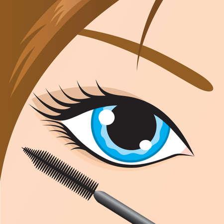 Close-up di un occhio femminile con mascara applicato. Vector. Vettoriali