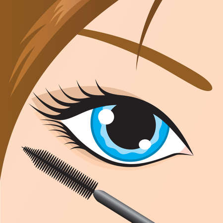 apply: Close-up of a female eye with mascara being applied. Vector.