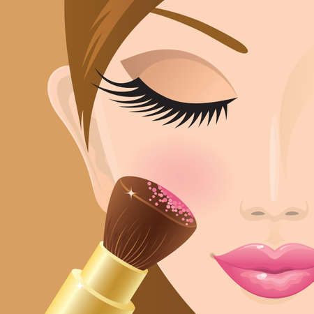 Close-up of a girl applying rouge on her cheek. Vector. Çizim