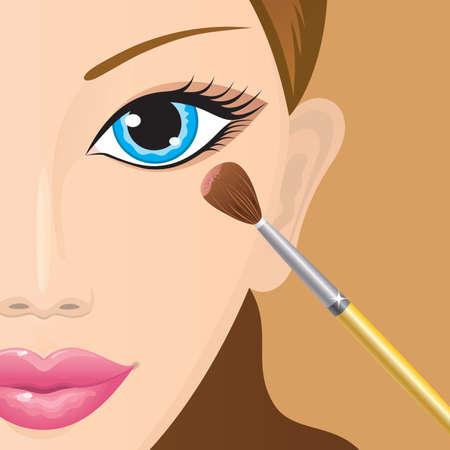 Close-up di un volto femminile con ombretti in atto. Vector.