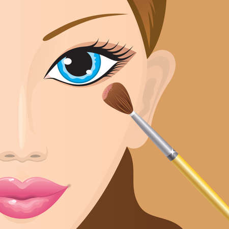 Close-up of a female face with eye-shadows being applied  Vector