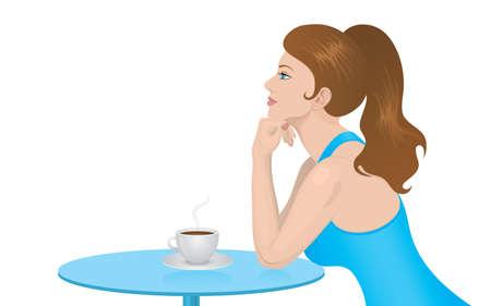 Woman in Tagtr�umen Kaffeehaus �ber einem hei�en, dampfenden Tasse Kaffee. Vector illustration.