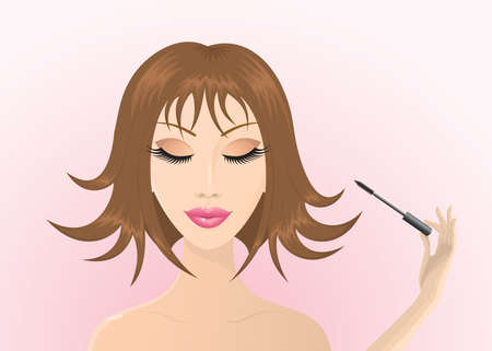 Donna Beautiful vector applying mascara sulle ciglia lunghe. Vettoriali