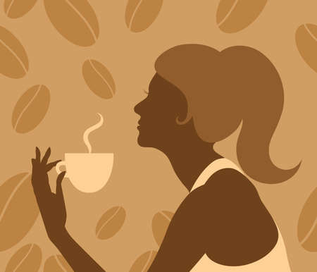 Vector silhouette of retro lady with a steaming cup on the seamless coffee beans background