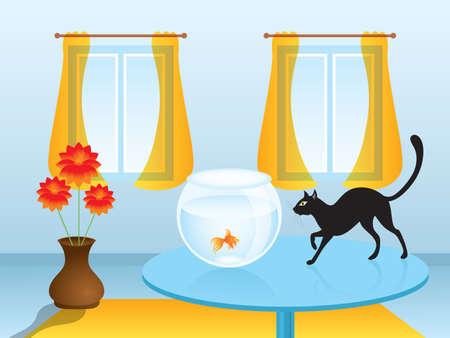 Schwarze Katze Jagd Goldfisch auf dem Tisch im Wohnzimmer mit gro�en Fenstern. Vector illustration.