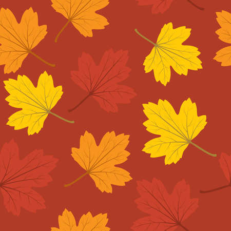 seamless background with red, orange and yellow autumn leaves  Vector