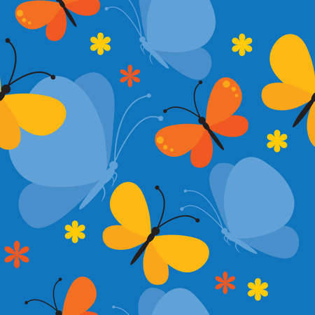 seamless background with butterflies and flowers Stock Vector - 5616993