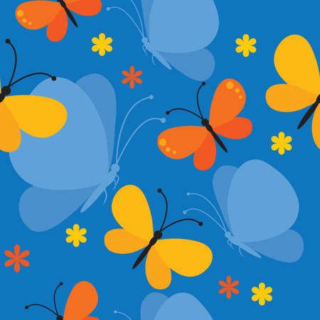 Vector nahtlose Hintergrund mit Schmetterlingen und Blumen.