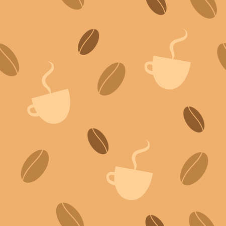 Seamless background with coffee beans and steaming cups. Çizim