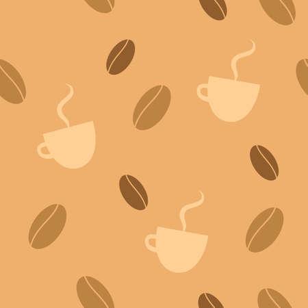 Senza soluzione di continuit� di fondo con i chicchi di caff� e tazze fumanti. Vettoriali