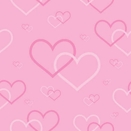 seamless background with pink intertwined hearts  Vector