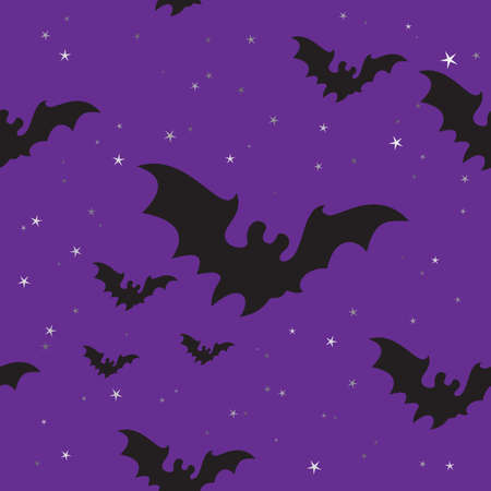 bat animal: Seamless background with Halloween bats and stars. Illustration