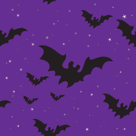 murcielago: Seamless con bates de Halloween y las estrellas.