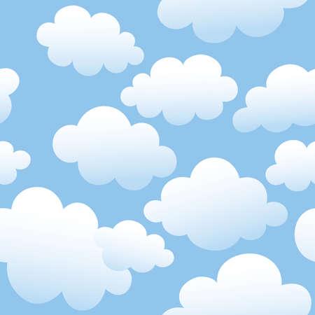 Vector nahtlose Hintergrund mit Wolken am blauen Himmel. Illustration