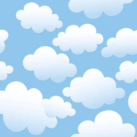 Vector seamless background with clouds in the blue sky  Çizim