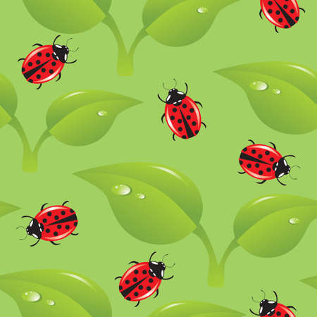 pedicle: seamless background with leaves and ladybirds