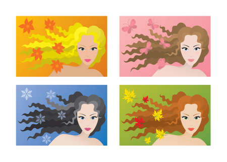 Vector Gruppe von vier Menschen Farbe Arten (Winter, Fr�hling, Sommer, Herbst) der Sch�nheit. Illustration
