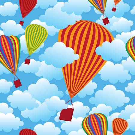 Vector seamless pattern with colorful balloons flying in the cloudy blue sky. Vector