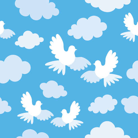 Vector seamless pattern with doves and clouds. Vector
