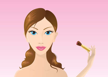 Beautiful vector woman applying rouge on her cheek with a brush. Vector