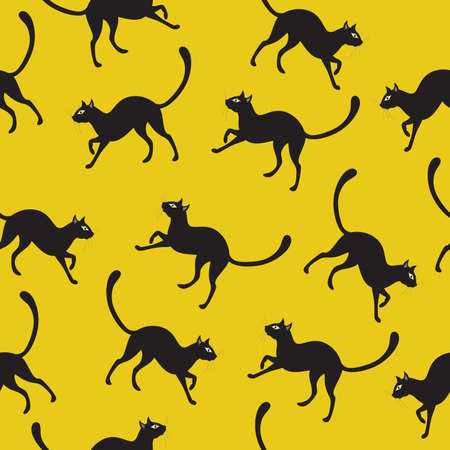 Vector seamless background with black cats. Vector