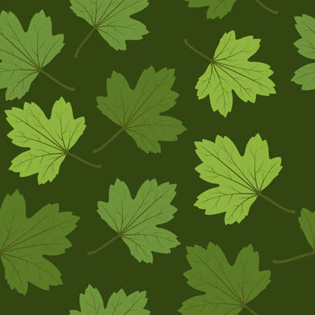seamless background with green summer leaves. Illustration
