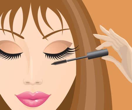 apply: Close-up of a beautiful female face mascara.  Illustration
