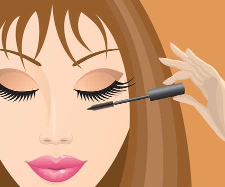 beautician: Close-up of a beautiful female face mascara.  Illustration