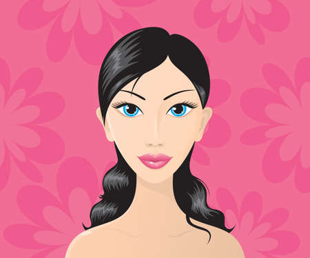 Beautiful brunette on a seamless background with pink flowers. Vector