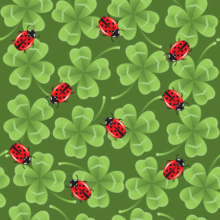 seamless background with lucky clovers and semi-realistic ladybirds. Vector