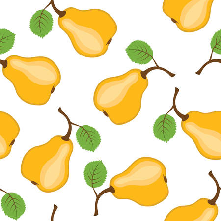 Pear seamless background. illustration.