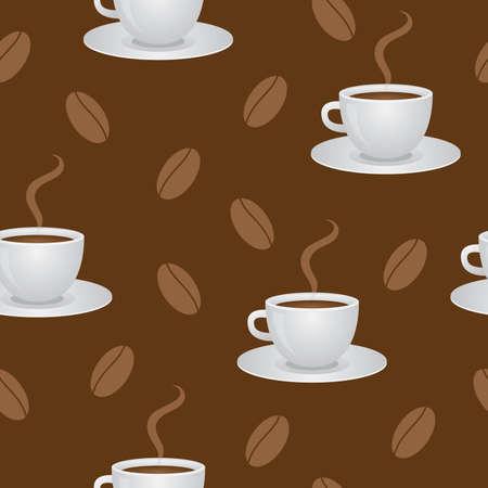 Nahtlose Muster mit Kaffee Tassen und Bohnen. Illustration.