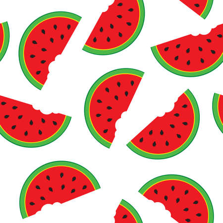 Seamless pattern with watermelon segments.  illustration.