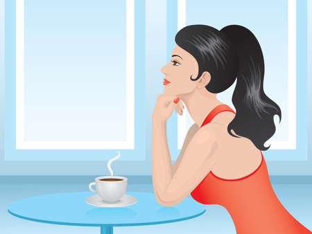 woman dreaming: Pretty brunette in red sitting in cafe over a hot, steaming cup of coffee . illustration.