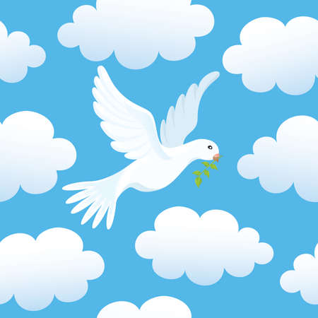 cloudy day:  seamless background with a dove in clouds.