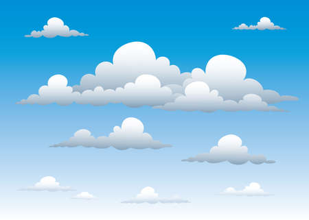 illustration of the cloudy blue sky.