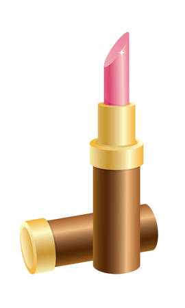 lipstick tube: A golden tube of pink lipstick.