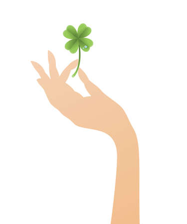 Vector lucky clover with waterdrops in a female hand, Saint Patricks Day.
