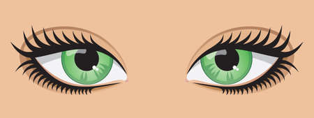 eyelashes: A pair of green eyes.