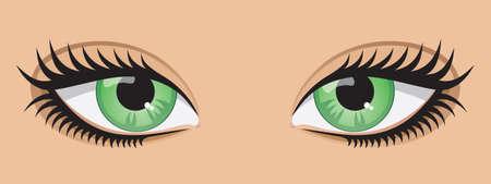 A pair of green eyes.