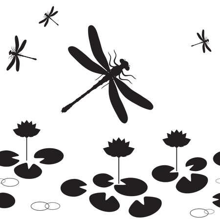 Modello senza saldatura con sagome di libellule e lotus.  Vettoriali