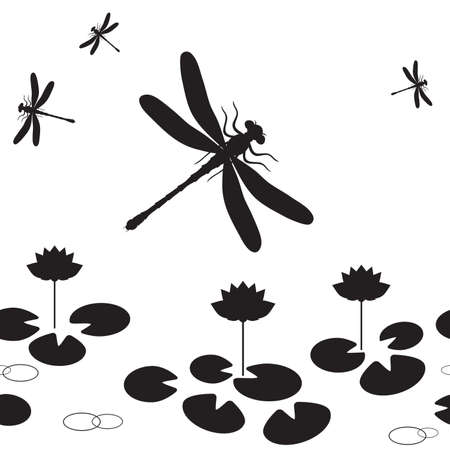 Seamless pattern with silhouettes of dragonflies and lotus.