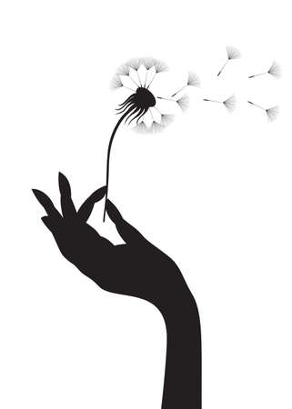 blowing dandelion: Silhouette di una mano femmina di tarassaco.  illustrazione.