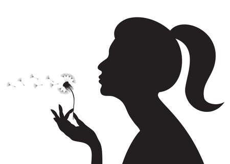 blowing dandelion: Silhouette di una ragazza che soffia su un dente di Leone. illustrazione.